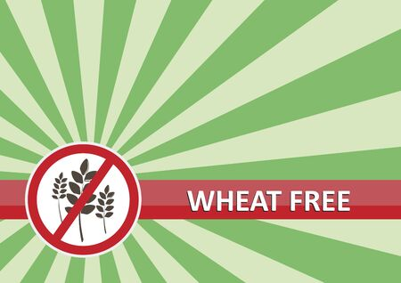 Wheat free banner for food allergy concept Vector