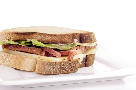 free plate: Gluten free sandwich with home-made bread, cheese, roast beef and lettuce Stock Photo