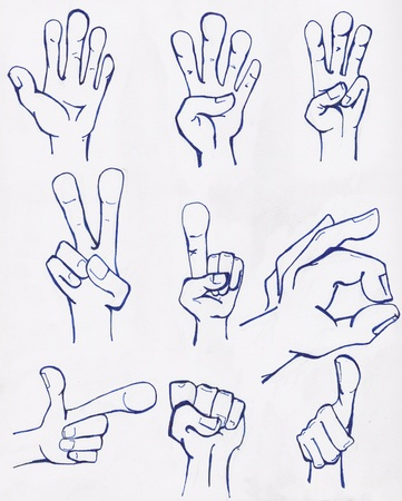 left hand: Hand sketches drawn in blue ink on white paper