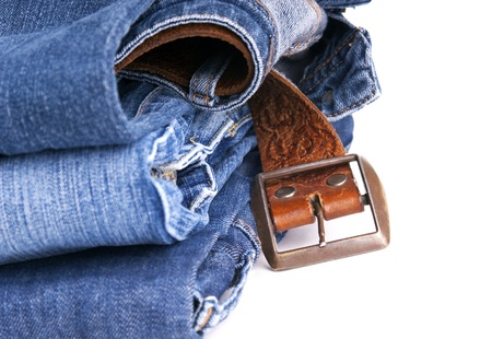 Blue jeans with leather belt, isolated on white Stock Photo - 16403612