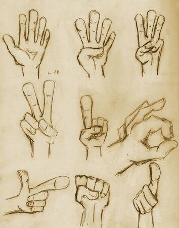 Hands sketched in pencil on vintage paper with sepia tone photo