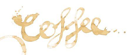manchas de cafe: Caf� escrito como una palabra en las manchas de caf� aislados en blanco