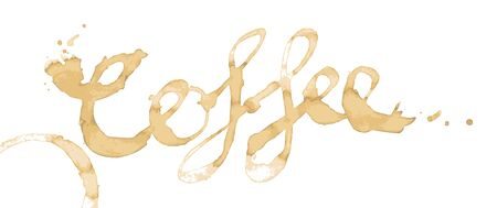 spilt: Coffee written as a word in coffee stains isolated on white