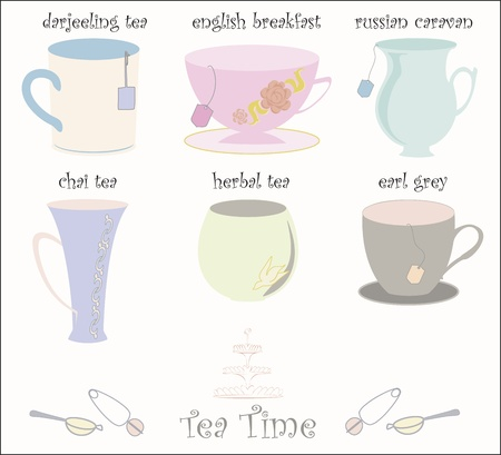 Collection of 6 teacups Vector