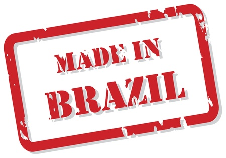 Red rubber stamp  of Made In Brazil Vector