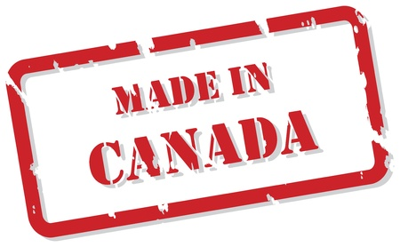 canada stamp: Red rubber stamp  of Made In Canada