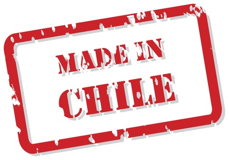 made in: Rode rubberen stempel van Made In Chili