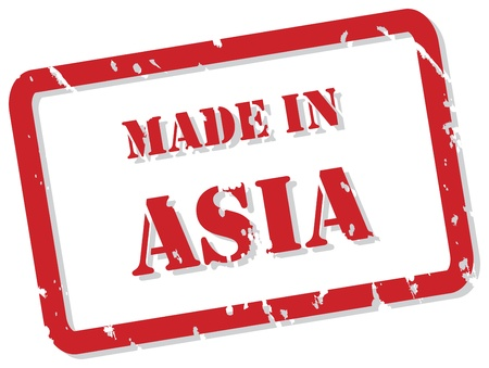 post stamp: Red rubber stamp of Made In Asia