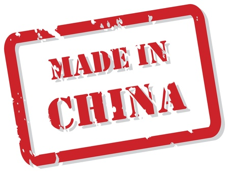 made in china: Red rubber stamp of Made In China
