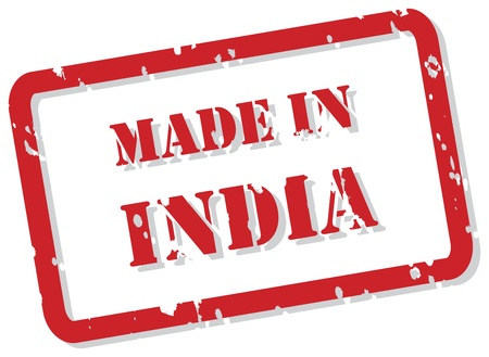 Red rubber stamp of Made In India Vector