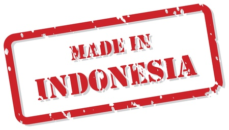 indonesian: Red rubber stamp of Made In Indonesia