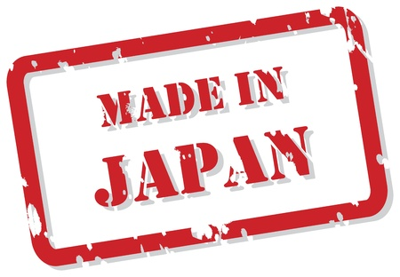 Red rubber stamp of Made In Japan Vector