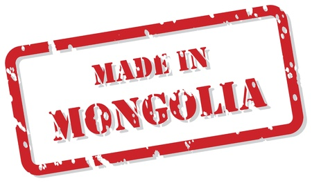 Red rubber stamp of Made In Mongolia Vector