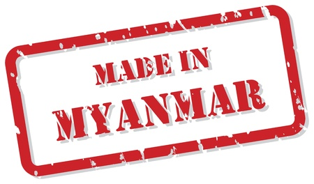 myanmar: Red rubber stamp of Made In Myanmar
