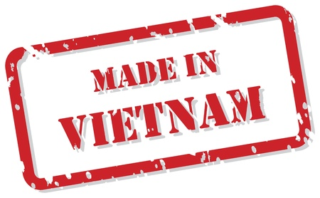 Red rubber stamp  of Made In Vietnam Vector