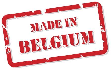 made in belgium: Red rubber stamp vector of Made In Belgium