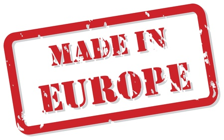 made in: Rode rubberen stempel vector van Made In Europe