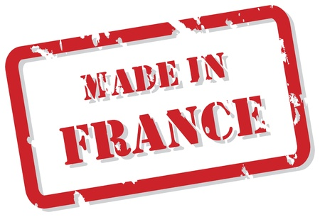 Red rubber stamp vector of Made In France Vector