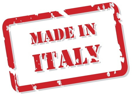 made in italy: Red rubber stamp vector of Made In Italy