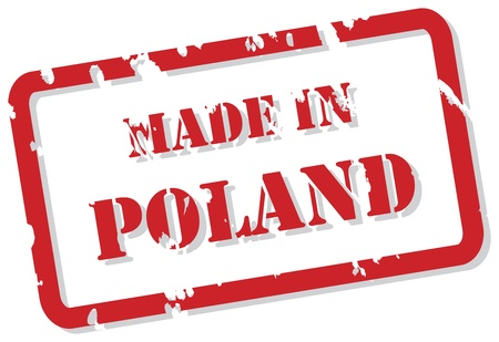 Red rubber stamp vector of Made In Poland Vector