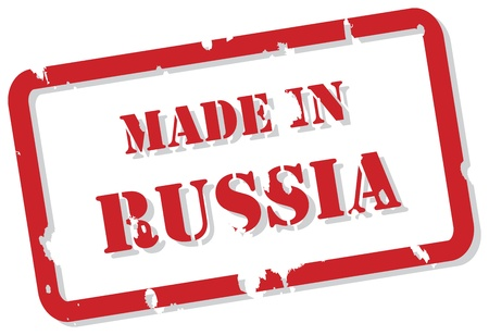 Red rubber stamp vector of Made In Russia Vector