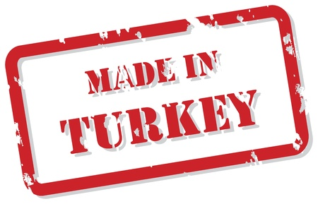 Red rubber stamp vector of Made In Turkey Vector
