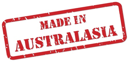 australasia: Red rubber stamp vector of Made In Australasia