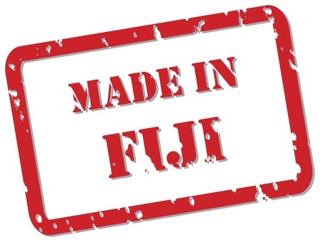 fijian: Red rubber stamp vector of Made In Fiji Illustration