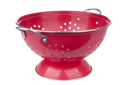 Red colander in full focus isolated on white Stock Photo