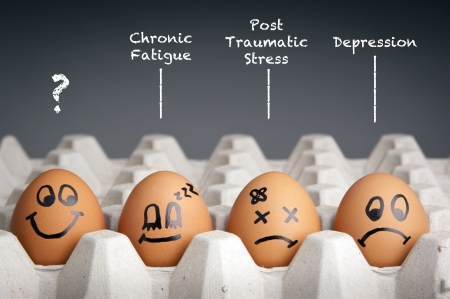 health issue: Mental health concept in playful style with egg characters
