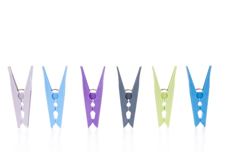 clothespin: Colorful pegs isolated on white Stock Photo