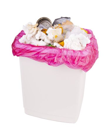 garbage can: Trash can filled with rubbish and garbage, isolated with clipping path