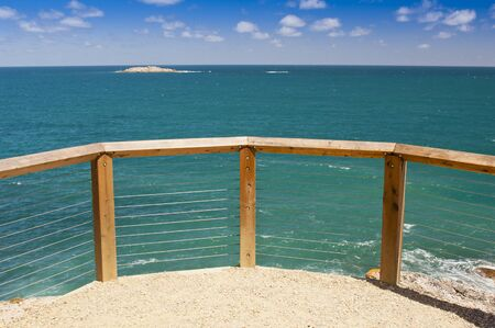 lookout: Lookout over beautiful blue waters in South Australia
