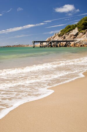 elliot: Horseshoe Bay near Victor Harbour in South Australia is perfect white sand and clear waters Stock Photo