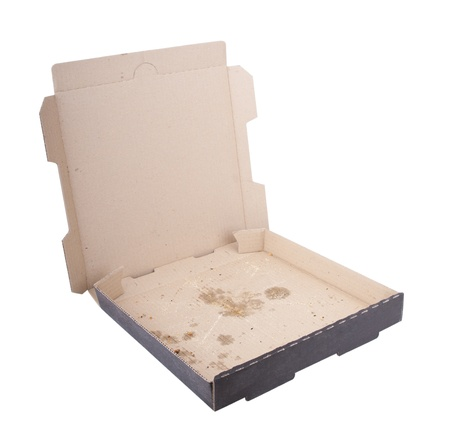 food distribution: Empty pizza box with pizza stains isolated on white