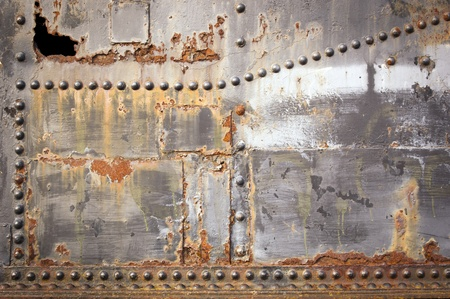 aluminum sheet: Metal industrial background with rivets and rust