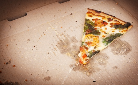 pizza box: Pizza slice last one left in the pizza box Stock Photo