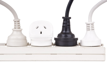 plug electric: Power cords with powerboard isolated on white