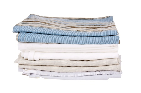 pattern bed: Bedding sheets folded and isolated on white Stock Photo