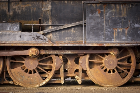 old train: Old train wheels and parts rusting away Stock Photo
