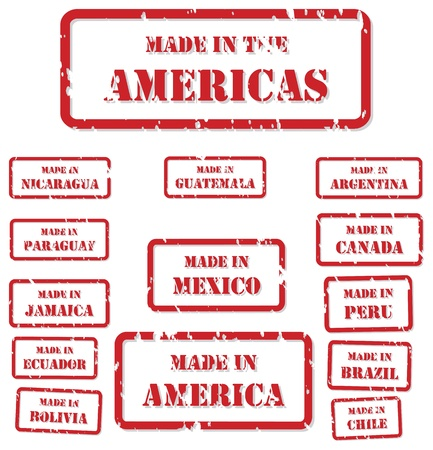 Set of red rubber stamps of Made In symbols for North, Central and South America Vector