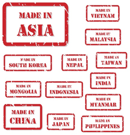 Set of red rubber stamps of Made In symbols for Asia Vector