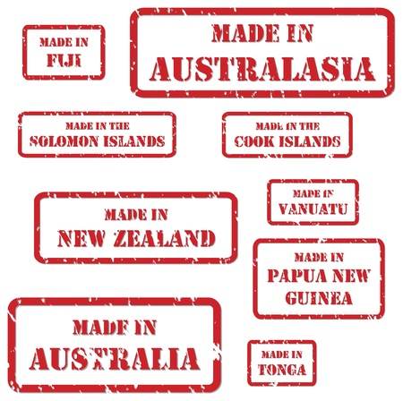 Set of red rubber stamps of Made In symbols for Australasia region Vector