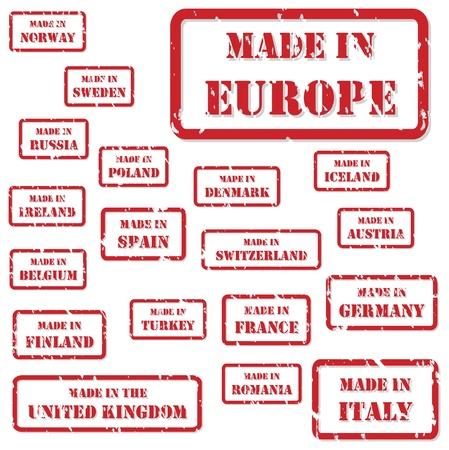 made in italy: Set of red rubber stamps of Made In symbols for Europe and surrounds