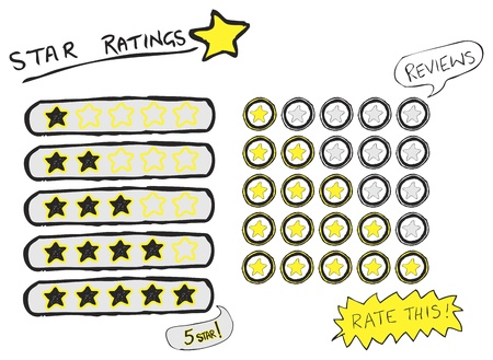 Star ratings from one to five stars in a rough hand drawn sketch style Vector