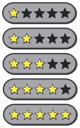 rank: Star ratings for review from one to five stars Illustration