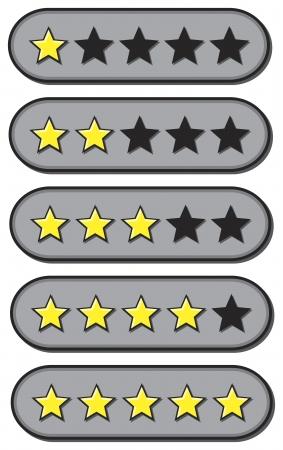 votaciones: Valoraciones de revisi�n de una a cinco estrellas