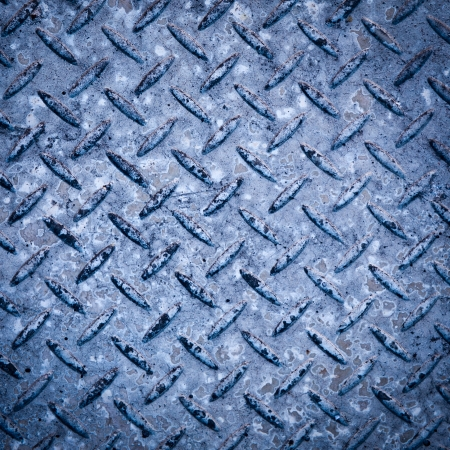 pitted: Background texture of checkerplate steel imprint in concrete Stock Photo