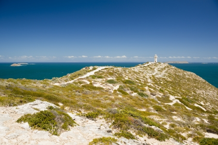 yorke: Lighthouse at Cape Spencer, South Australia, perched high above the ocean
