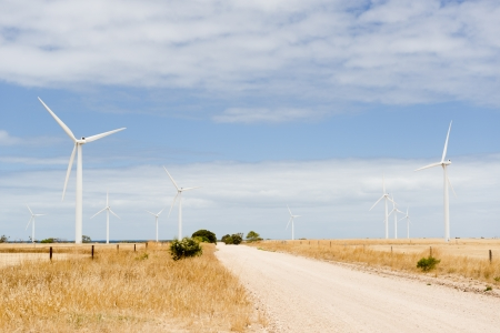 Wind turbines in a wind farm in rural Australia photo